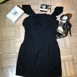 Black Mini Dress with Ruffle & satin detail trim